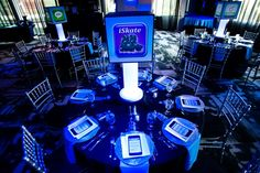 Blue Bar Mitzvah Centerpieces, iPhone App, Cell Phone, Technology, Favorite Things Theme {Planning: Party Perfect, Photographer: Jennifer Werneth} - mazelmoments.com