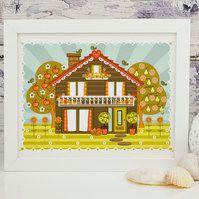 'Folk House' - 10x8 Framed Print
