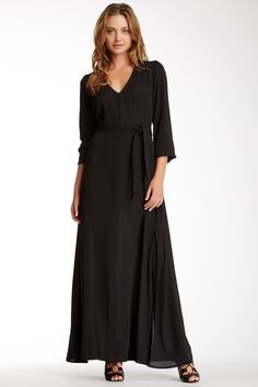Long Sleeve Tie Waist Gown by Donna Mizani on @nordstrom_rack