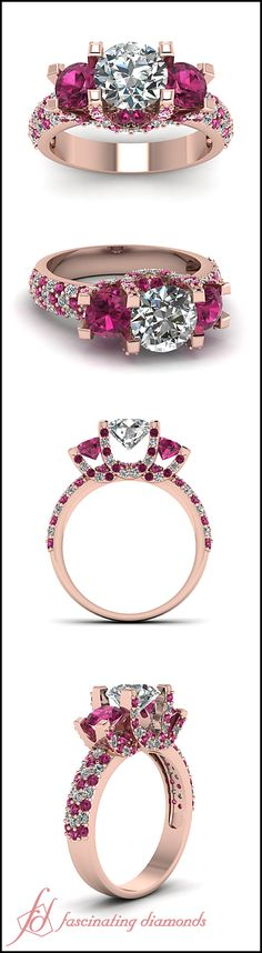 Round Cut Diamond and Pink Sapphire 14K Rose Gold Side Stone Engagement Ring || Enigma Sparkle Ring