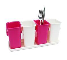 Honla FlatwareSilverware Caddy Holder with Plastic Tray SetInterlocking Cutlery Drainer Organizer for Kitchen CountertopDining Table StoragePink and White