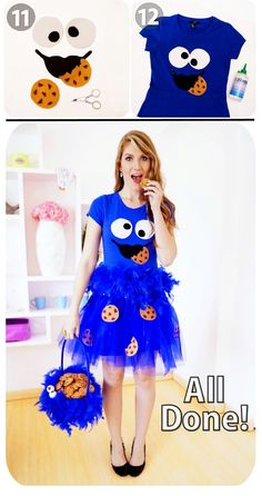 Cookie Monster Costume Tutorial, Part 3 Mehr C.- Cookie Monster Costume Tutorial, Part 3 Mehr Cookie Monster Costume Tutorial, Part 3 Mehr Purim Costumes, Cute Halloween Costumes, Halloween Diy, Food Costumes, Cookie Monster Halloween Costume, Cookie Monster Party, Cookie Costume, Kids Monster Costume, Tutorial Fantasia