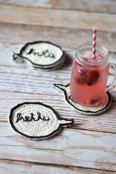 Crochet Speech Bubble Coasters by Whistle and Ivy