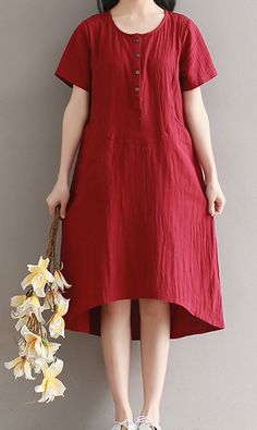 Women loose fitting over plus size retro red linen dress maxi tunic pregnant  #Unbranded #dress #Casual