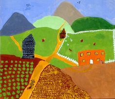 Landscapes in the style of Grandma Moses - Age 12 Projects For Kids, Art Projects, Project Ideas, Site Art, 2nd Grade Art, Fourth Grade, Second Grade, Grandma Moses, Arts Ed