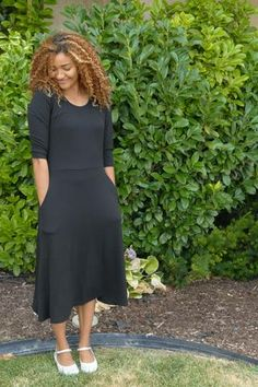 Edyn Clothing Melodie Midi Dress for LDS Sister Missionaries - MissionaryMall Sister Missionaries, Knit Dress, Dress Sewing, Clothing Co, Fit And Flare, Sewing Patterns, Sisters, Cold Shoulder Dress, Dresses For Work