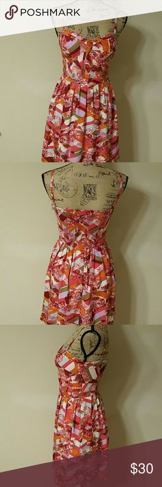"""{Jessica Simpson} Colorful Dress Beautiful dress by Jessica Simpson. Spaghetti straps with side zipper. Back section has elastic waist. In excellent pre-owned condition. Measurements (flat): Bust 15"""", Waist 13"""", Length from shoulders 34"""", From waist 19"""". Jessica Simpson Dresses"""