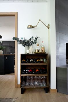Im finally getting around to sharing the plans for our modern standing wine rack we built last fall for the One Room Challenge. Better late than never right Now that I finally have it styled. Read The Post Standing Wine Rack, Bar Stand, Wine Stand, Modern Wine Rack, Wine Cart, Wine Rack Cabinet, Flat Shapes, Easter Bunny Decorations, Diy Bar