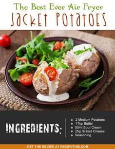 Welcome to my best ever Air Fryer jacket potatoes. I bet you hadn't thought of the jacket potato in the Air Fryer? Well it makes a brilliant lunch or dinner and is easier than you think. Plus the highlight for me with jacket potatoes is for the skin to be super crispy and this is a certainty when cooked in the Air Fryer. What I love about jacket potatoes is that you can have that many different toppings on it and some can be more filling or more fattening than others, based on what you're in…