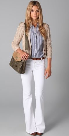 Wide white jeans, blue Naf Naf shirt or blue and white striped J Crew blouse, beige cardigan, Hush Puppies