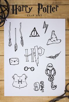 FREE Harry Potter Clip Art – Designs By Miss Mandee. Hand drawn Harry Potter graphics for every witch and wizard! Great for graduation announcements, photo overlays, or card designs.