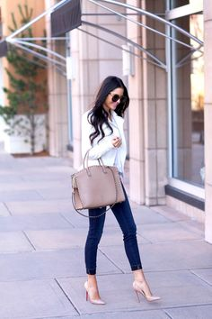 Nude shoes jeans and a white blazer