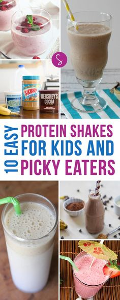 These Easy Protein Shakes for Kids are perfect for children who need a little helping hand to get that all important protein into their bodies! (healthy smoothies for kids picky eaters) Vegetarian Meals For Kids, Kids Cooking Recipes, Healthy Meals For Kids, Baby Food Recipes, Kids Meals, Jello Recipes, Kid Recipes, Whole30 Recipes, Vegetarian Recipes