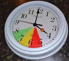 If your kids wake up too early in the morning colour code a clock so they know that if its in the read they have to stay in bed, in the yellow they can play quietly and in the green they can get up for the day! Genius