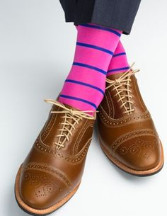 Dapper Classics Rose with Clematis Blue Stripe Linked Toe Sock