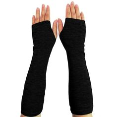 Women Stretchy Long Sleeve Fingerless Gloves ($8.99) ❤ liked on Polyvore featuring accessories, gloves, fingerless gloves and stretch gloves