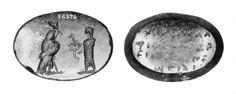 Talismans - Magical gem: Horus falcon with animal-headed figure (A) voces (B)