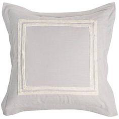 Patrina Fog Hand-Embroidered Cotton Euro Pillow Sham - #9G925   Lamps Plus