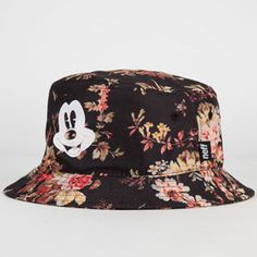 Disney Collection by Neff Mickey Floral bucket hat. Allover floral print with Mickey Mouse graphic screened on front. Bennies Hats, Floral Bucket Hat, Disney Ears Hat, Mens Bucket Hats, Ear Hats, Cute Hats, Swag Style, Disney Outfits, Mens Fashion