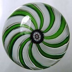 Swirl Paperweight, Clichy Glasshouse, circa 1850, glass, 2 15/16 in. x 2 15/16 in. Currier Museum of Art.