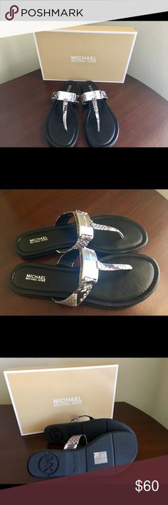 Michael Kors Colleen Leather Thong Michael Kors Colleen Embossed Snake Skin Leather Thong in a size 9M- Purchased last years- NEVER worn. Priced to sell. NO TRADES. Serious inquiries only. Thank you for visiting my closet. Michael Kors Shoes Sandals