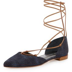 Stuart Weitzman Gilligan Lace-Up d'Orsay Flat ($415) ❤ liked on Polyvore featuring shoes, flats, navy, d'orsay flats, lace up flats, dorsay flats, navy blue leather flats and ankle tie flats