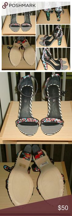 NWB Aldo Floral Striped Sandals Euro Size 40/US 9 NWB Aldo Floral and Striped Print Chunky Sandals Euro Size 40/US 9 Aldo Shoes Sandals
