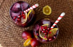 two winter sangria glasses