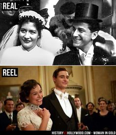 Maria Altmann and her husband Fritz Altmann on their wedding day in real life (top) and in the Woman in Gold movie (bottom). See more pics at: http://www.historyvshollywood.com/reelfaces/woman-in-gold/