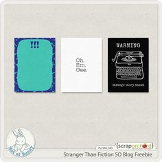Quality DigiScrap Freebies: Stranger Then Fiction journal cards freebie from Hat of Bunny #projectlife