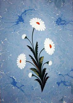 Çiçek ebrusu  在製作好的背景上畫上不同類型的花朵,經典圖案有鬱金香、康乃馨、菊花、玫瑰、風信子與罌粟花等。