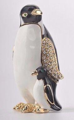 Penguin Trinket Box by Keren Kopal Austrian Crystal Faberge.