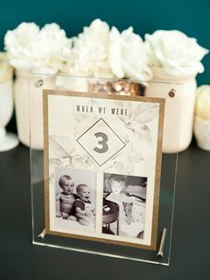 Free printable table numbers that hold a photo of the bride and groom at each age!                                                                                                                                                                                 More