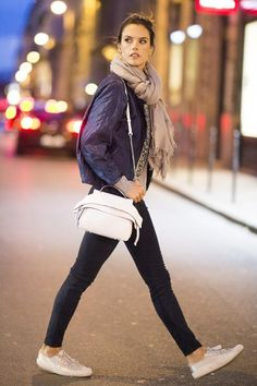 Alessandra Ambrosio wearing  Pedro Garcia Parson silk-satin and suede sneakers, Isabel Marant Jasia embellished silk jacket, J Brand Super-skinny suede leggings, Tod's Small Wave Tote