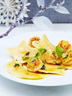 Kürbis-Ricotta-Ravioli mit Garnelen