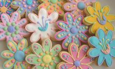 FLOWER GARDEN Decorated Cookie Favors  Flower Cookie by lorisplace