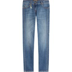 Roberto Cavalli Straight Jeans (1,625 ILS) ❤ liked on Polyvore featuring jeans, blue, slim straight jeans, slim fit blue jeans, blue denim jeans, blue jeans and zip jeans