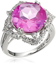 Sterling Silver Created Pink and White Sapphire Gemstone Cocktail Ring #deals