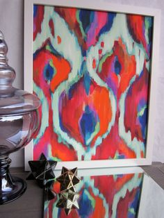 Painting Print abstract Ikat artwork with turquoise