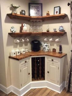 Build-in Corner Wine Bar. Coffee Nook, Coffee Bar Home, Home Coffee Stations, Coffee Bar Ideas, Coffe Corner, Coffee Bar Design, Corner Wine Bar, Kitchen Corner, Kitchen Small