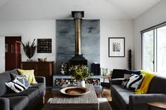 5. The sitting room in this Mornington Peninsula lakeside home is decorated with natural and man-made textures, found...