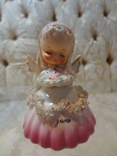 Vintage Napco 1956 'June' Bride Angel BELL of the Month figurine