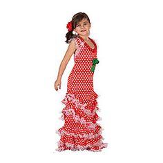 Lange Spaanse jurk voor meisjes. Traditionele Spaanse jurk in de kleur rood met witte stippen. Spaanse waaiers en overige Spaanse accessoires kunt u ook bij ons bestellen. Carnavalskleding 2015 #carnaval