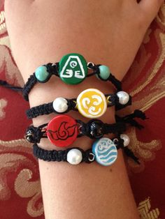 Avatar The Last Airbender Element Bracelets by mdcraftings on Etsy
