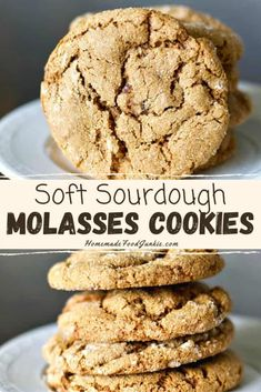 These sourdough molasses cookies are soft, chewy and full of delicious spice. Our recipe is easy to follow and create a tasty plateful of treats that keep well for days. #molassescookies #ginger #sourdough #soft #easy #chewy
