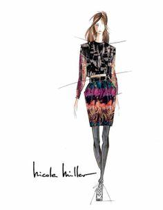 Nicole Miller Fall 2014 fashion illustration