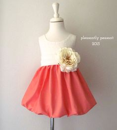 Pink/Peach Girls Dress - Flower girl dress with sash and silk flower - Coral Flower Girl Dress