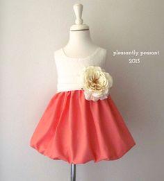 Pink/Peach Girls Dress  Flower girl dress by pleasantlypeasant, $89.00