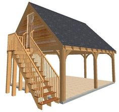 2 Bay Carport with Gable End Room in Roof - Pergola Ideas