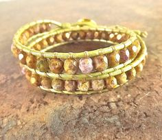 2x Leather Wrap Bracelet Gold Smoky Topaz Picasso by neferknots